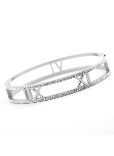 Welch Steel Taşlı Roma Rakamlı Kadın Çelik Bileklik Beyaz
